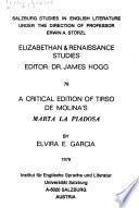 A critical edition of Tirso de Molina's Marta la piadosa