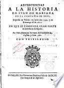 Advertencias a la historia de Juan de Mariana de la Compañia de Jesús, en que se enmienda gran parte de la historia de España