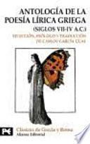 Antología de la poesía lírica griega, siglos VII-IV a.C.