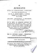 Aparato para la corrección y adición de la obra que publicó en 1769 el Dr. D. Joseph Berní y Catalá...con el título