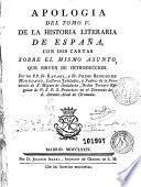 Apología del Tomo V de la Historia literaria de España