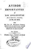 Avisos importantes á los apologistas de la medicina curativa de Mr. Le Roy