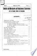 Boletín del Ministerio de Relaciones Exteriores de los Estado Unidos de Venezuela