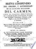 Breve compendio del origen y antiguedad de la sagrada religion del Carmen