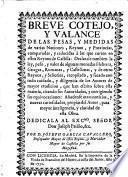 Breve cotejo y valance de las pesas y medidas de varias naciones, ... comparadas, y reducidas à las que corren en estos reynos de Castilla, etc