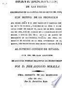 Breve descripcion de las fiestas celebradas en la capital de los reyes del Perú con motivo de la promocion del Excmo. Señor D. D. Jose Baquijano y Carrillo ... al Supremo Consejo de Estado ... con ... algunas poesias relativas al mismo obgeto, etc