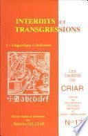 Cahiers du CRIAR n°17, Interdits et transgressions 1