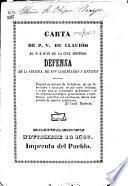 Carta. De P.V. de Claudio al D D Juan de la Cruz Montero. Defensa de la Iglesia, de sus libertades i estatus