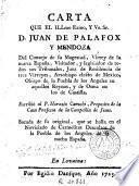 Carta que el ... Sr. D. Juan de Palafox y Mendoza ... escribiò al P. Horazio Carochi ...