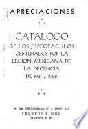 Catálogo de los espectáculos censurados por la Legión Mexicana de la Decencia de 1931 a 1958
