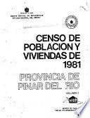Censo de población y viviendas, 1981: Provincia de Pinar del Rio