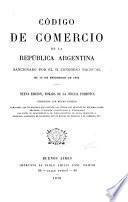 Código de comercio de la República argentina, sancionado por el h. Congreso nacional el 10 de setiembre de 1862