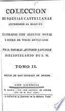 Coleccion de poesias castellanas anteriores al siglo XV.