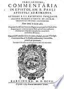 Commentaria in epistolam b. Pauli Apostoli ad Romanos, nunc denuo in lucem aedita