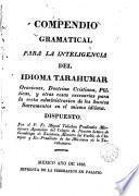 Compendio gramatical para la inteligencia del idioma Tarahumar ...
