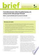 Consideraciones sobre la gobernanza y la restauración del paisaje forestal