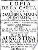 Copia de la carta ... dando ... noticia de las ... virtudes, y ... muerte de la M. R. M. A. N. M. de los D. Muñoz y Sandoval, etc