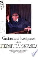 Cuadernos para investigación de la literatura hispánica