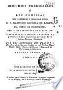 Discursos predicables o Las homilías del ilustrísimo y venerable señor don fray Gerónimo Bautista de Lanuza