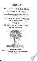 El Cantar De Cantares con otras obras ineditas