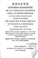 Ensayo historico-apologetico de la literatura espanola