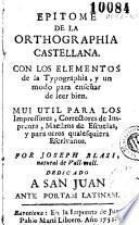 Epitome de la orthographia castellana