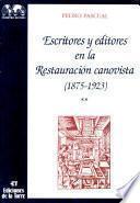 Escritores y editores en la Restauración canovista, 1875-1923