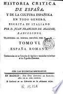 Historia critica de Es, 6paña y de la cultura española