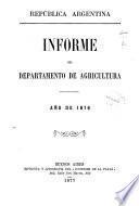 Informe del Departamento Nacional de Agricultura