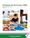 IX Censo de Servicios, 1986. Datos referentes a 1985. Tomo I. Censos Económicos 1986