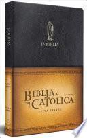 La Biblia Católica: Edición Letra Grande. Símil Piel Negra, con Virgen de Guadalupe en Cubierta / Catholic Bible. Leathersoft. Black, with Virgen on Cover