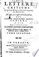 Lettere critiche giocose, morali, scientifiche, ed erudite