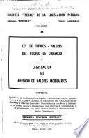 Ley de títulos-valores del Código de comercio y legislación del mercado de valores mobiliarios