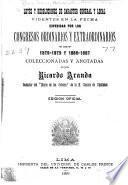 Leyes y resoluciones expedidas por los Congresos Ordinario y Extraordinario