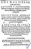 Los Mas Fieles Amantes, Leucippe y Clitofonte, Historia Griega por Aquiles Tacio Alexandrino (etc.)