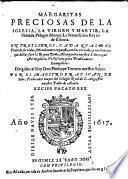 Margaritas Preciosas de la iglesia, la virgen y martir, la llamada Pelagio Monge, la reyna de Escocia ... con las virtudes de la reyna Margarita (de Espana)