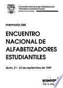 Memoria del Encuentro Nacional de Alfabetizadores Estudiantiles, Quito, 21-23 de septiembre de 1989
