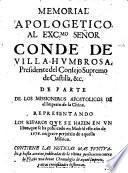 Memorial apologetico al Exc. Señor Conde de Villa-Humbrosa, Presidente del Consejo Supremo de Castilla ... de parte de los missioneros apostolicos de el imperio de la China representando los reparos que se hazen en un libro