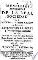 Memorias académicas de la Real Sociedad de Medicina y demás Ciencias de Sevilla