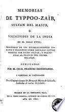 Memorias de Typpoo-Zaíb, Sultan del Masur, ó Vicisitudes de la India en el Siglo XVIII