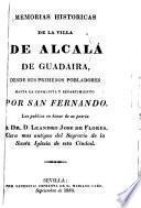 Memorias Historicas De La Villa De Alcala De Guadaira