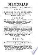 Memorias instructivas, y curiosas sobre agricultura, comercio, industria, economía, chymica, botanica, historia natural, &c
