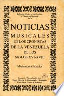 Noticias musicales en los cronistas de la Venezuela de los siglos XVI-XVIII