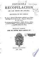 Novisima recopilación de las Leyes de España: Libros I-II