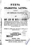 Nueva gramática latina escrita con sencillez filosófica