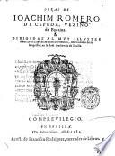 Obras de Ioachim Romero de Cepeda, vezino de Badajoz