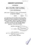 Observaciones sobre el clima de Lima, y sus influencias en los seres organizados, en especial el hombre