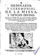 Ordinario y ceremonial de la missa y oficio divino