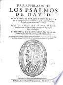 Paraphrasis de los Psalmos de David ...