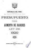 Presupuesto para aumento de haberes, ley 4091, 1920